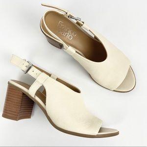 Franco Sarto Honor Heels White Pebbled Leather